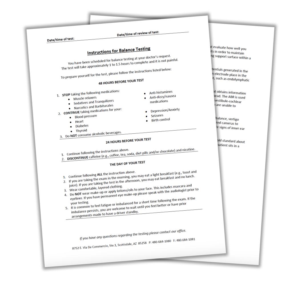 Ba;ance testing instructions | Scottsdale ENT