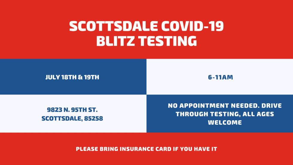 Drive-Through COVID-19 Blitz Testing, July 18th & 19th